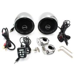 Zvukový systém s reproduktormi na motocykel, skúter, ATV s FM, USB, AUX, BLUETOOTH, farba chróm