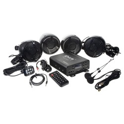 4.1CH zvukový systém na motocykel, skúter, ATV, loď s FM, USB, AUX, BT, čierne