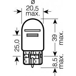 OSRAM 12V W21 / 5W (W3x16q) 21 / 5W štandard (1ks)