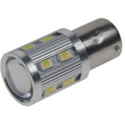 LED BA15s biela, 12-24V, 12SMD Samsung + 3W Osram