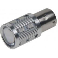 LED BA15S červená, 12SMD + 3W LED 10-30V