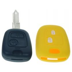 Silikónový obal pre kľúč Peugeot, Citroën, 2-tlačidlový, žltý