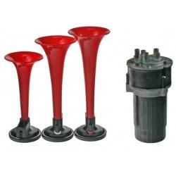 3-tónová fanfára 220mm, 12V červená s kompresorom