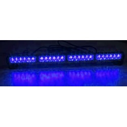 LED svetelná alej, 24x 1W LED, modrá 645mm, ECE R10