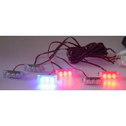 PREDATOR LED do mriežky, 12V, modro-červená