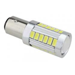 LED BAY15d (dvouvlákno) biela, 12-24V, 33LED / 5730SMD s šošovkou