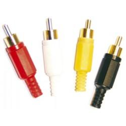 Cinch konektory samec, sada 4 ks kombinácia pozlátený / plast
