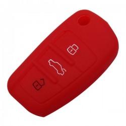 Silikónový obal pre kľúč Audi 3-tlačidlový, červený