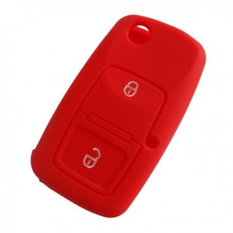 Silikónový obal pre kľúč Škoda, VW, Seat 2-tlačidlový, červený
