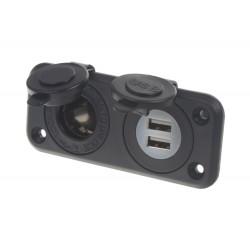 dvojitá zásuvka do panelu 1x CL + 2x nabíjačka USB vodeodolná