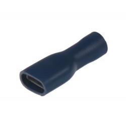 Objímka plochá izolovaná 6,3 mm modrá, 100 ks