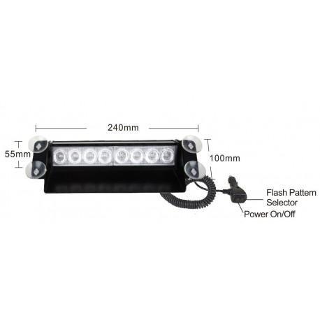 PREDATOR LED vnútorné, 8x3W, 12-24V, modrý, 240mm, CE