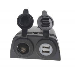dvojitá zásuvka s panelom 1x CL + 2x nabíjačka USB vodeodolná