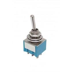 Dvojcestný páčkový prepínač 2x6A / 12V, 2x3A / 220V