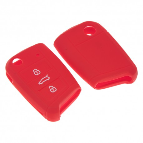 Silikónový obal pre kľúč VW, Škoda 3-tlačidlový, červený